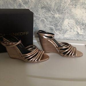 Rebecca Minkoff Rose Gold Leather Wedge Sandals